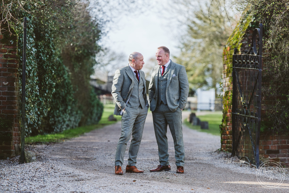 Groom photographed with his best man at Leez Priory before the wedding