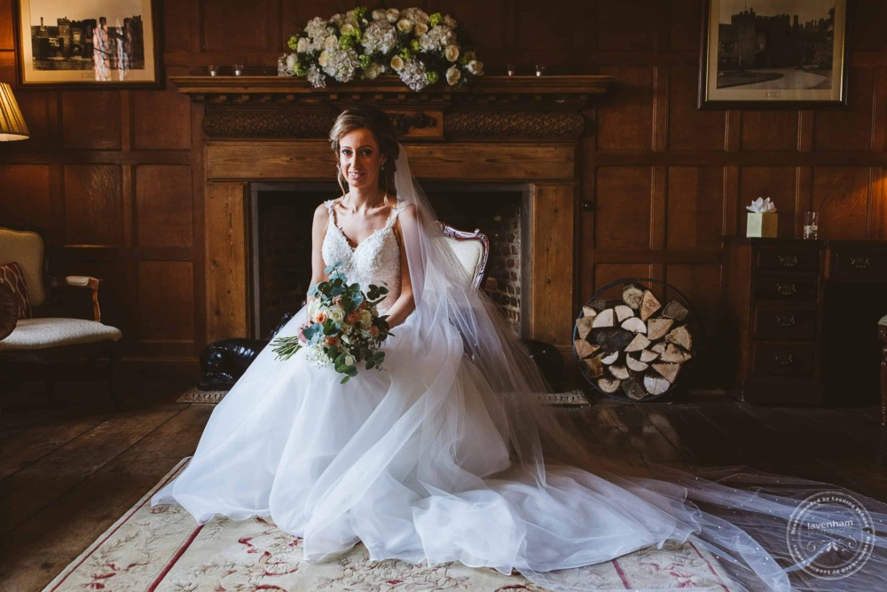 The bride in the Light Oak Room at Leez Priory, photographed before the wedding ceremony