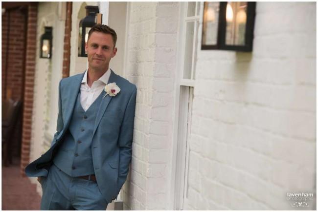 Groom before wedding, at The Mill Hotel Sudbury