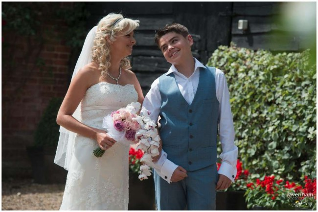 Bride with son before wedding