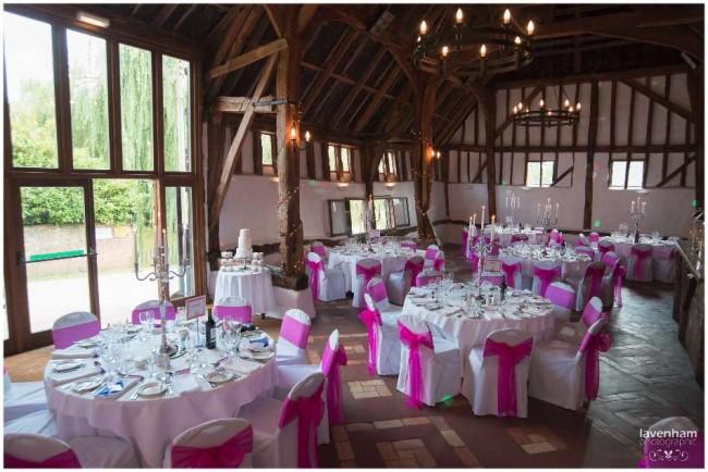 Smeetham Hall set up for wedding breakfast, pink sashes