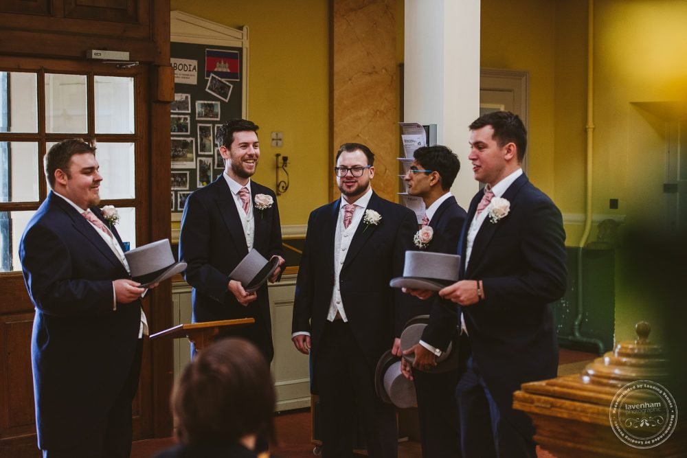 The groomsmen arrive at church ready for the wedding ceremony