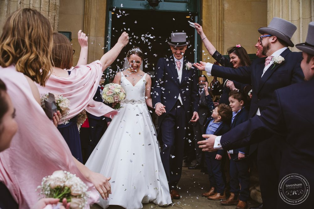 Confetti as the bride and groom leave the church