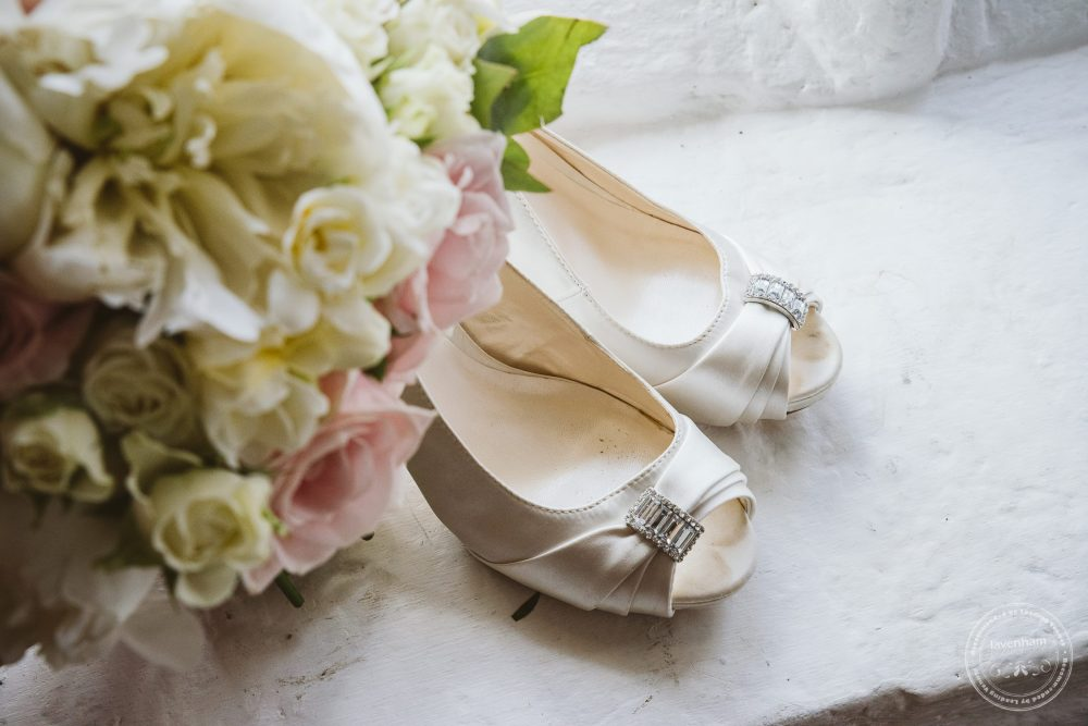 Wedding Shoes, photographed with a bride's bouquet