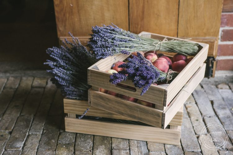 Rustic wedding details, baskets of fruit and lavender