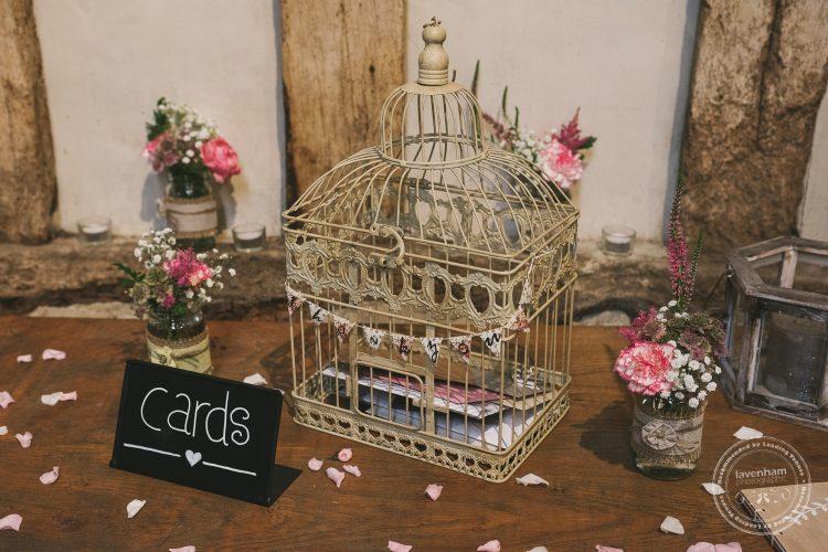 Photograph of wedding details, birdcage letter box