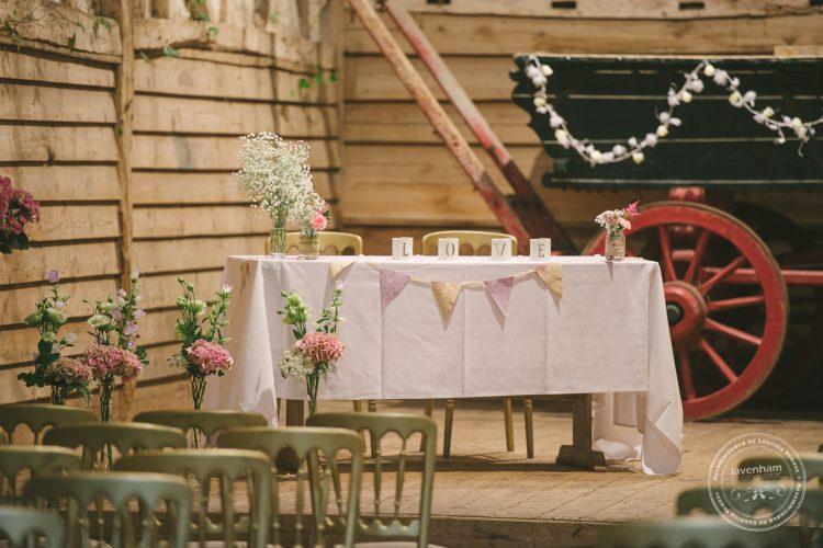 Photography of Preston Priory Barn set up for wedding ceremony