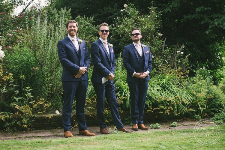 Groomsmen in the garden at Perston Priory Barn