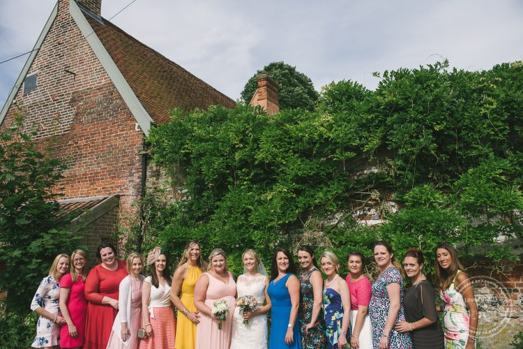 Group photo of the bride and her friends at preston Priory Barn