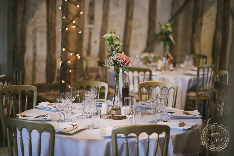 Dining room setup at Preston Priory Barn