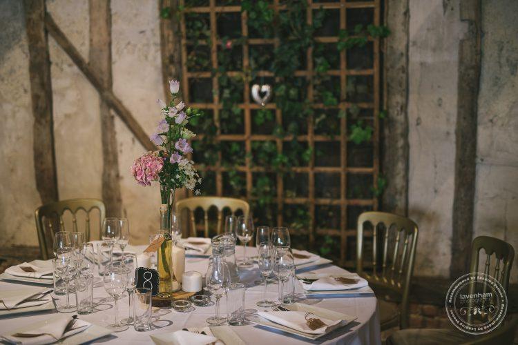 The dining room setup at Preston Priory Barn, with trellis