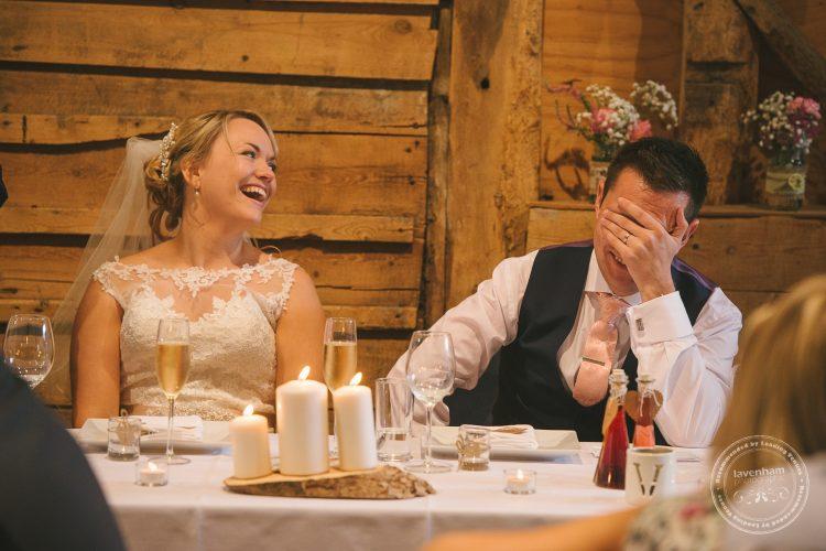 Groom embarassed during speeches at Preston Priory Barn wedding