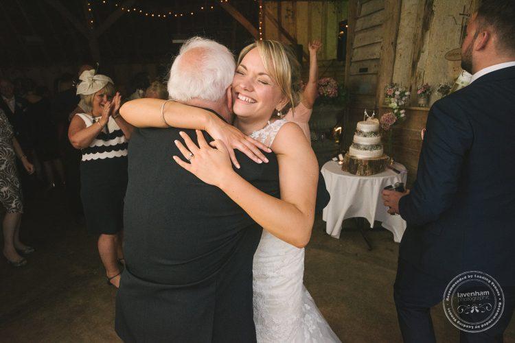 Bride hugs grandad at Preston Priory Barn wedding
