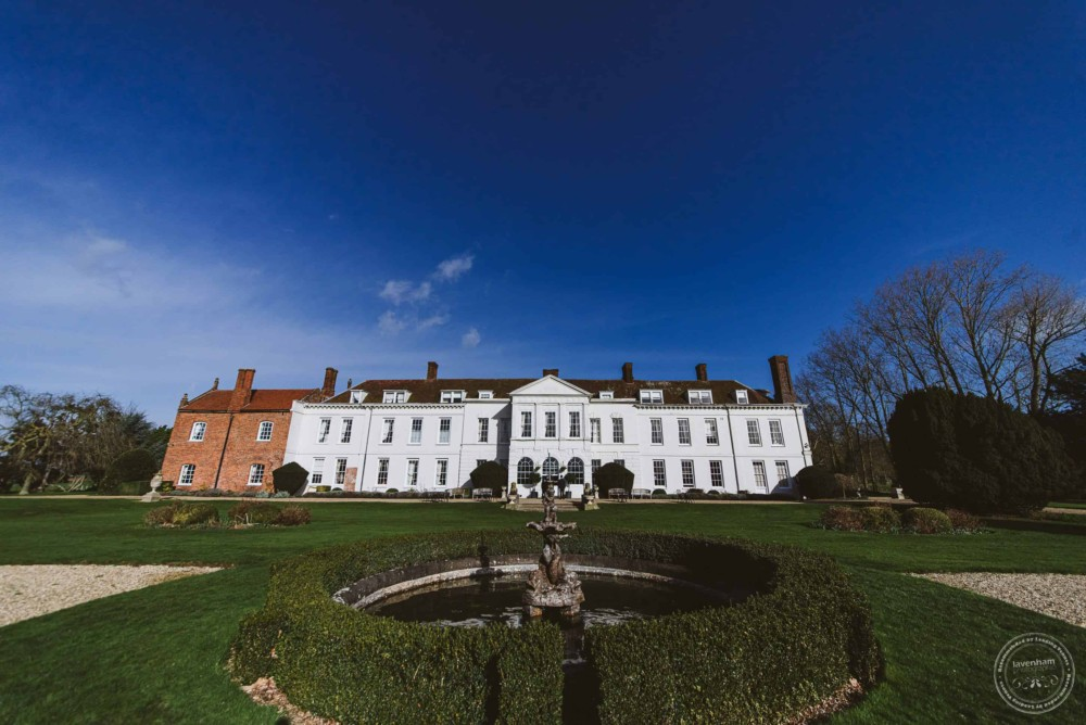 Gosfield Hall with a blue sky on the morning of a wedding