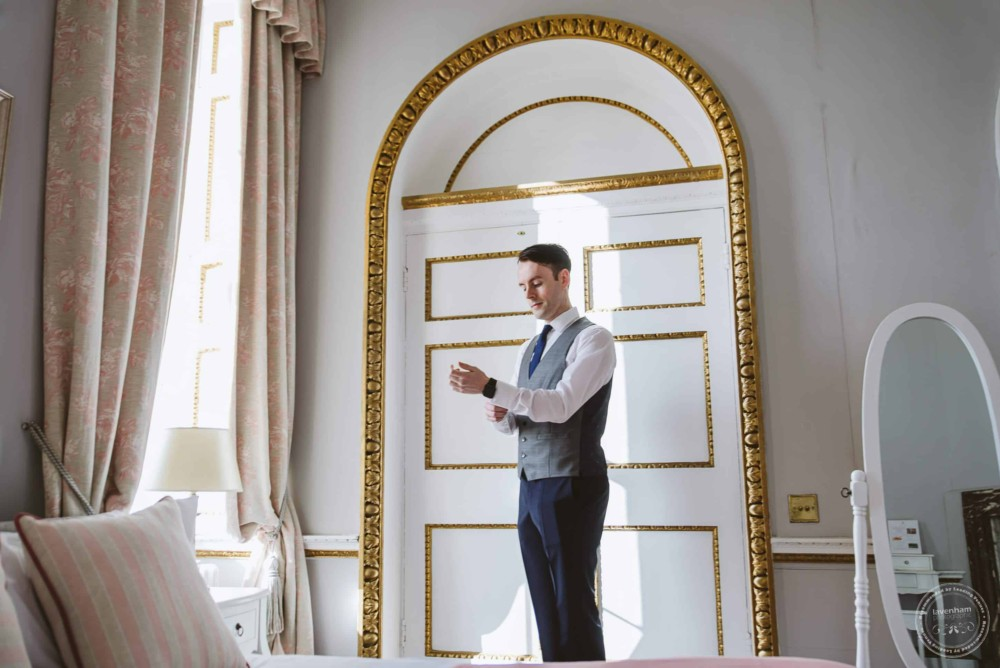 The groom getting ready for the wedding at Gosfield Hall
