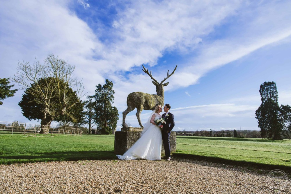Photograph with one of the stag statues and a lovely blues sky