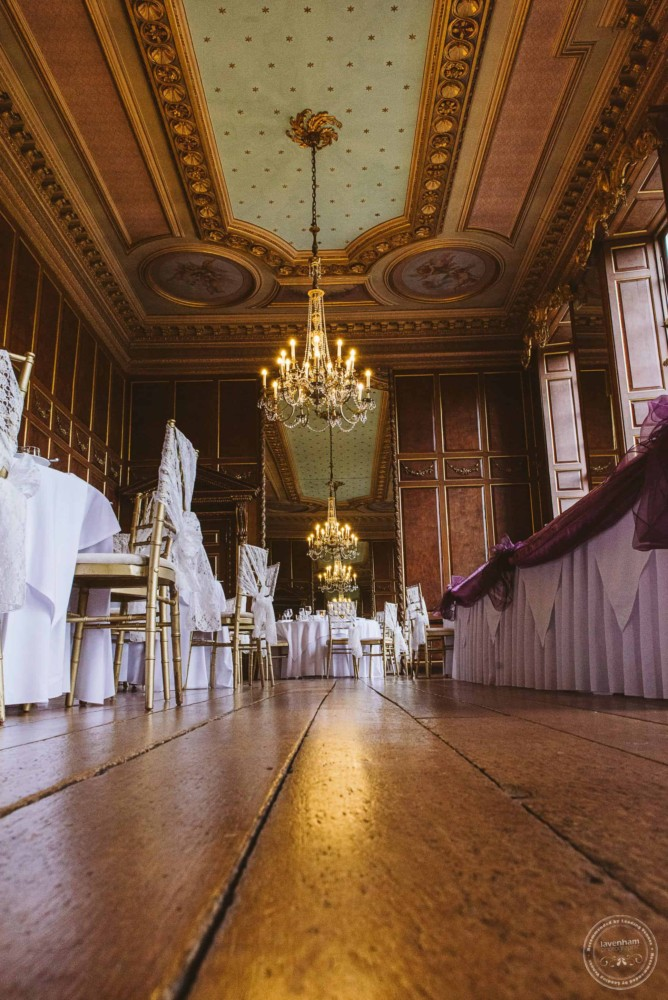 The ever impressive ballroom at Gosfield Hall set up for the wedding breakfast