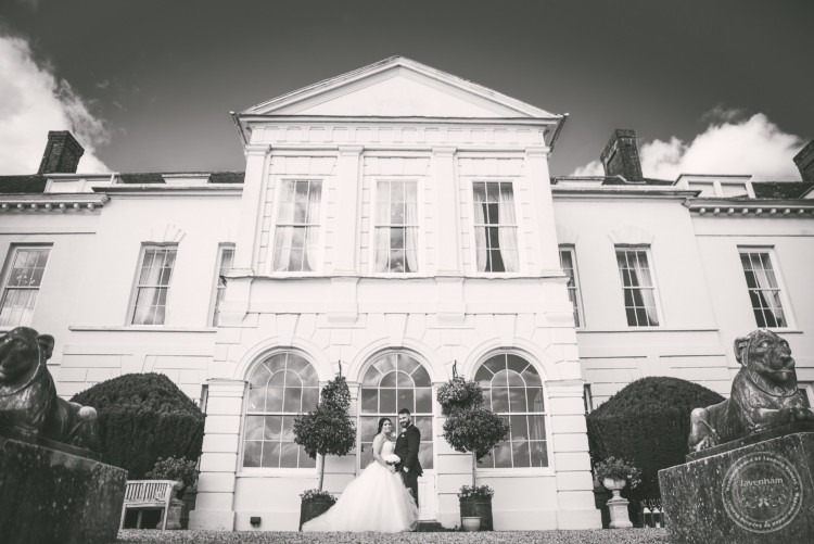 Black and white wedding photograph at the South face at Gosfield Hall