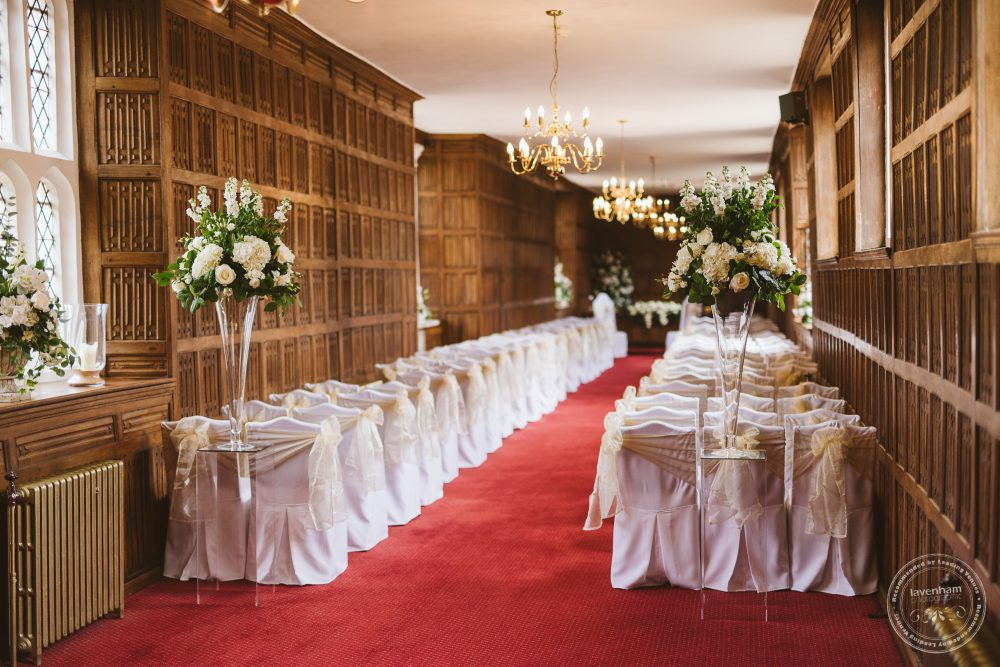 Photography of the Queens Gallery at Gosfield Hall ready for a wedding ceremony