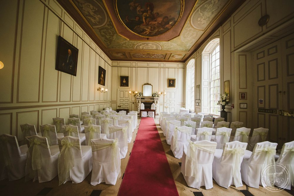 The Grand Salon at Gosfield Hall photographed in preparation of the wedding ceremony