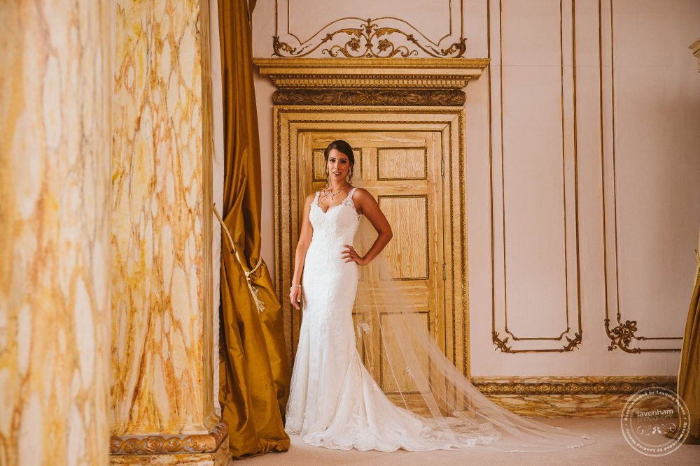 Photography of the bride before the wedding in the Rococo suite at Gosfield Hall