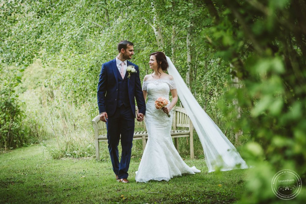 Lisa and Bryn photographed walking through the grounds at Alpheton Hall Barn