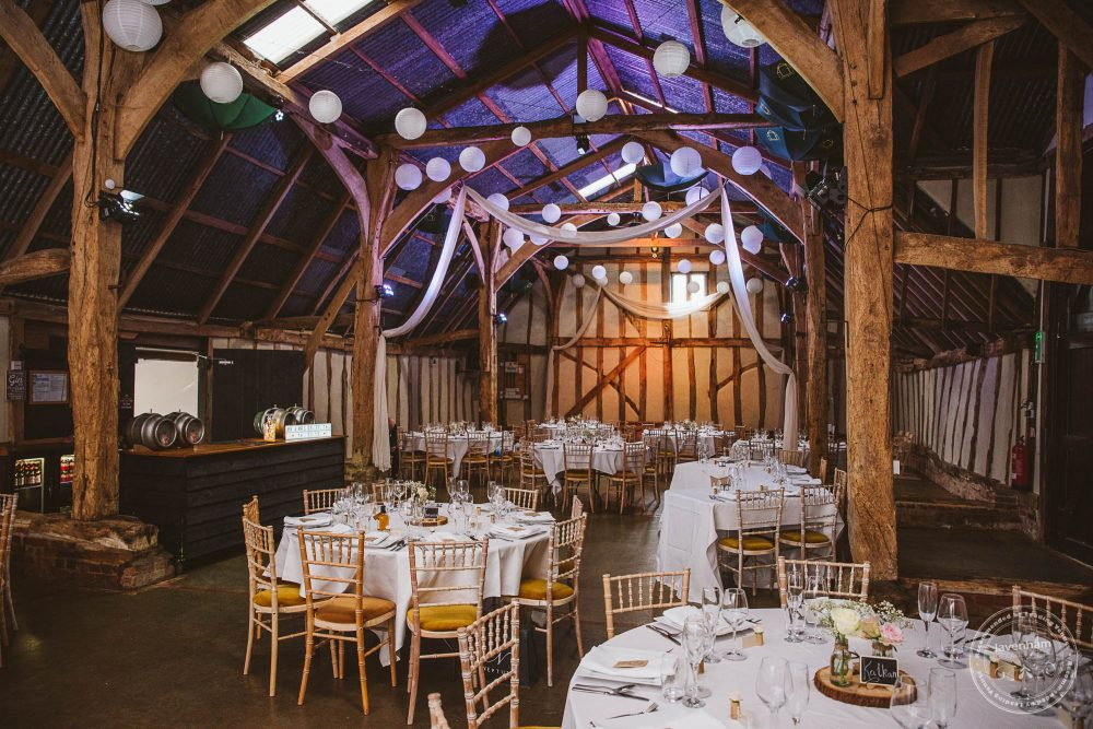 Alpheton Hall Barn set up for the wedding breakfast