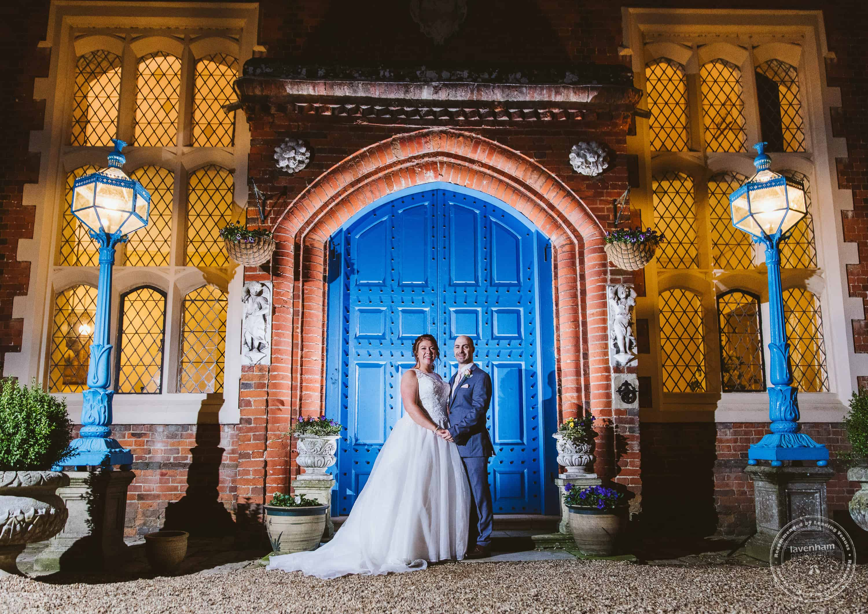 Night time photo at the famous Blue Doors at Gosfield Hall