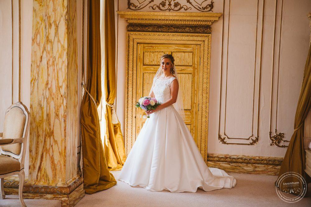 The bride before wedding ceremony in Gosfield Hall's Rococo suite