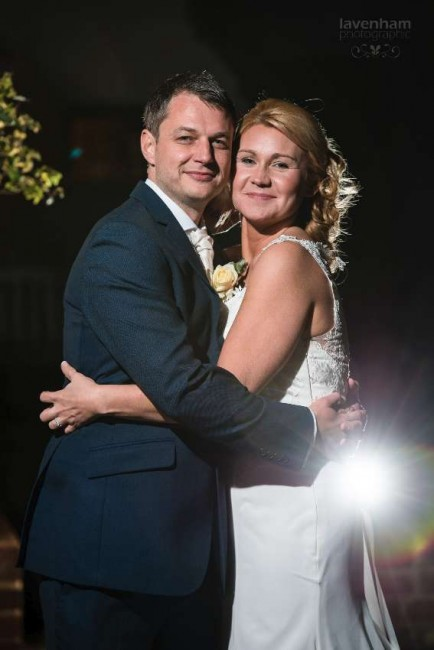 Bride and groom at Swan Hotel, night photo with remote lighting