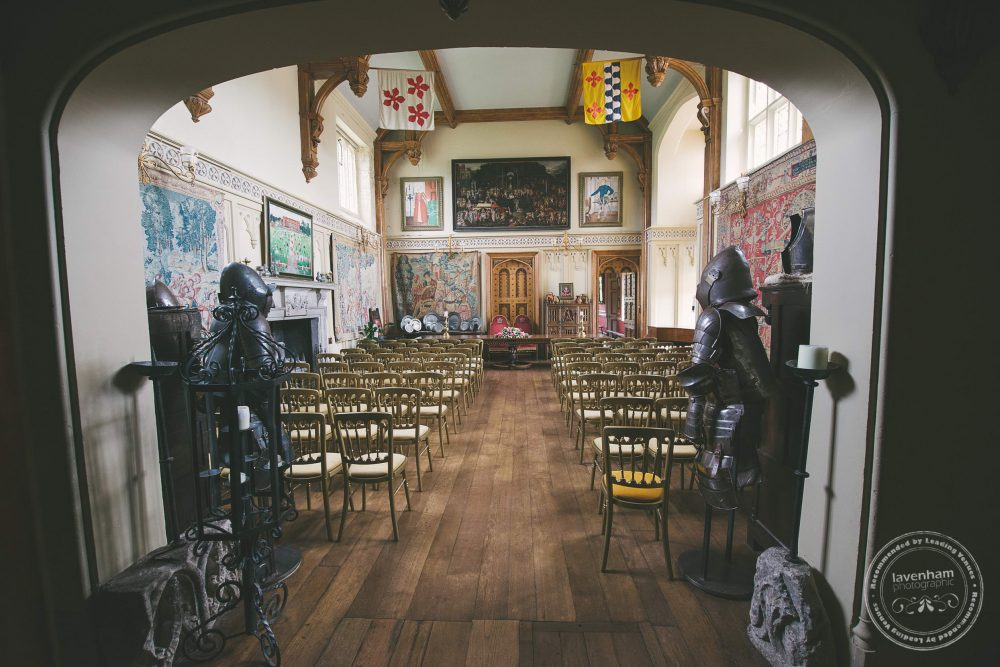 The main hall at Kentwell set up for a wedding ceremony