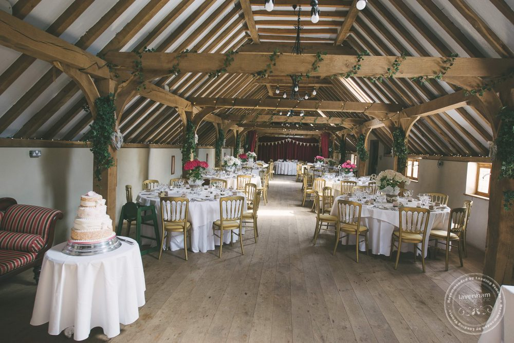 The overcroft at Kentwell Hall, set up for the Wedding breakfast and evening reception