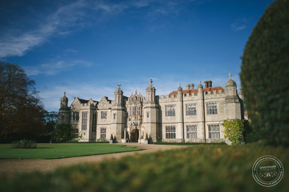 Hengrave Hall with a blue sky, photographed on the morning of a wedding day