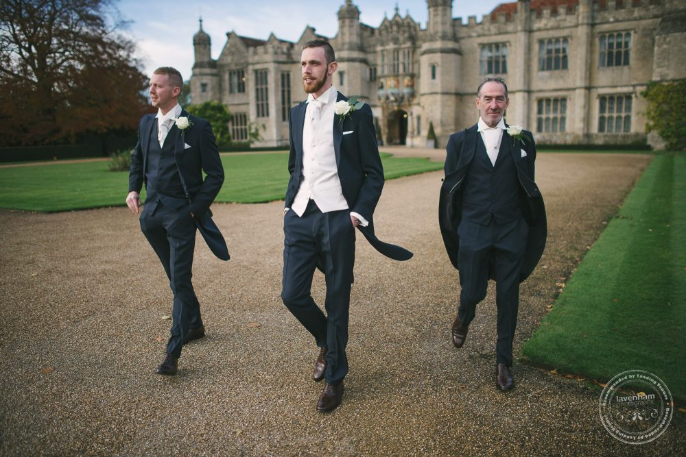 Informal group photograph of the groomsmen before the wedding at Hengrave Hall