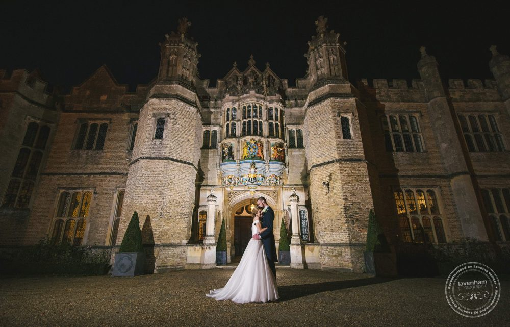 The striking face of Hengrave Hall, wedding photography at night using off-camera flash lighting for dramatic effect