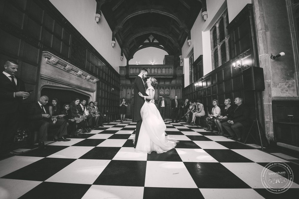 First dance at Hengrave Hall Wedding on chequerboard dancefloor