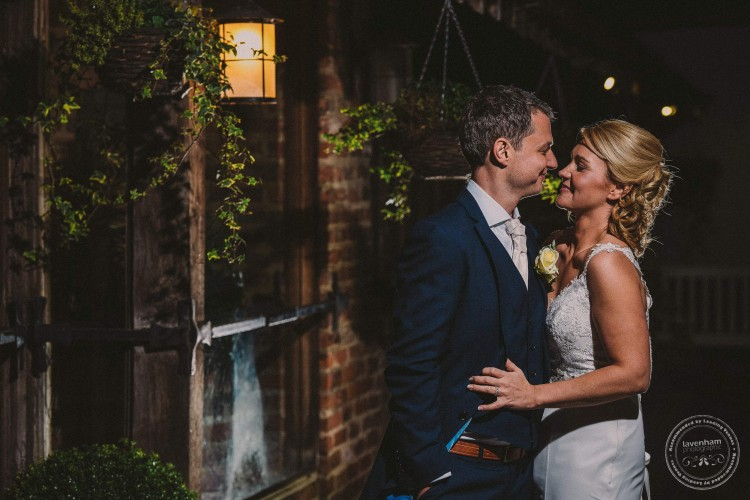 Bride & groom at night, Swan Hotel, Lavenham, Suffolk