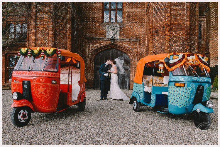 Bride and groom kiss with two colourful tuk-tuks. Military dress uniform wedding