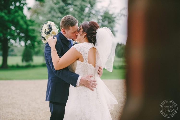 Bride and groom Kiss, Gosfield Hall, Essex
