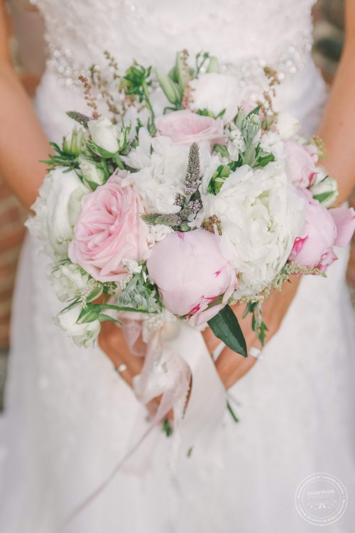 Wedding bouquet with pink and white roses & peonies