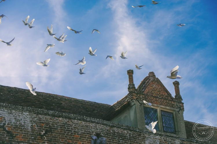 Doves flying over Kentwell Hall