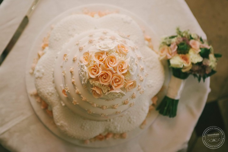 Wedding cake photographed from above
