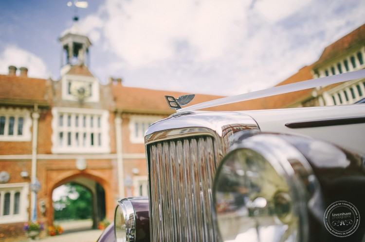 Wedding car in the courtyard at Gosfield Hall