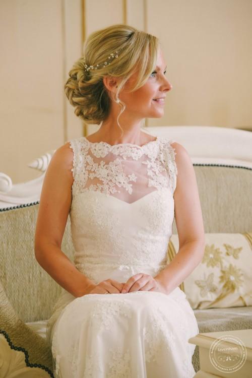 Portrait of bride sitting in Rococco at Gosfield Hall