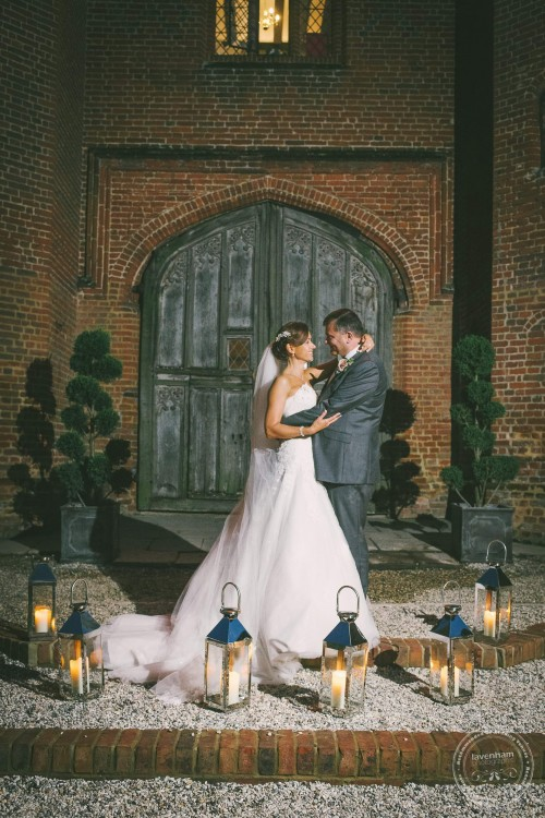 Wedding photograph with candle lanterns at Leez priory
