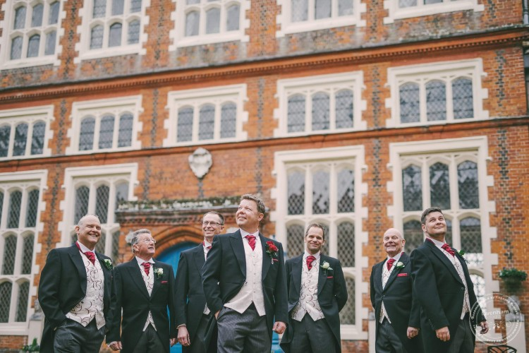 Wedding Photograph of Groom with Groomsmen at Gosfield Hall