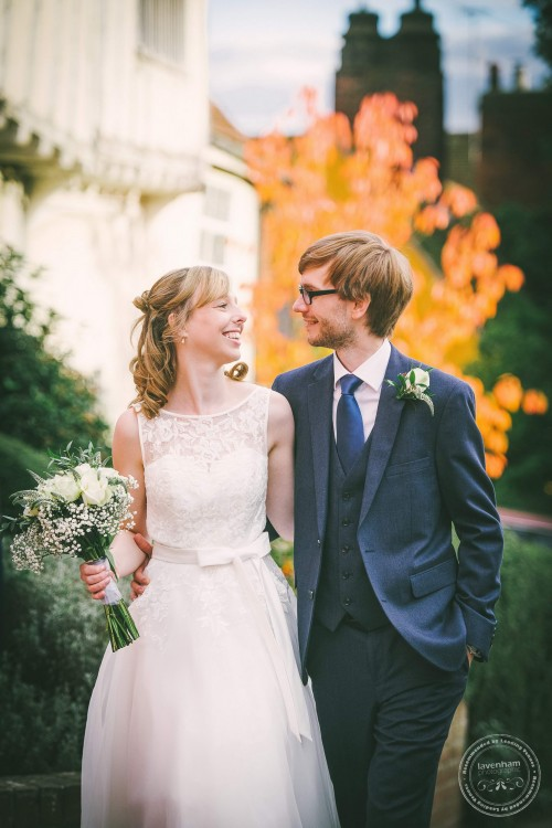 Wedding photography in front of autumn leaves, Lavenham, Suffolk