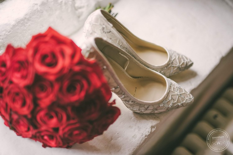 Wedding shoes, lace detail photographed