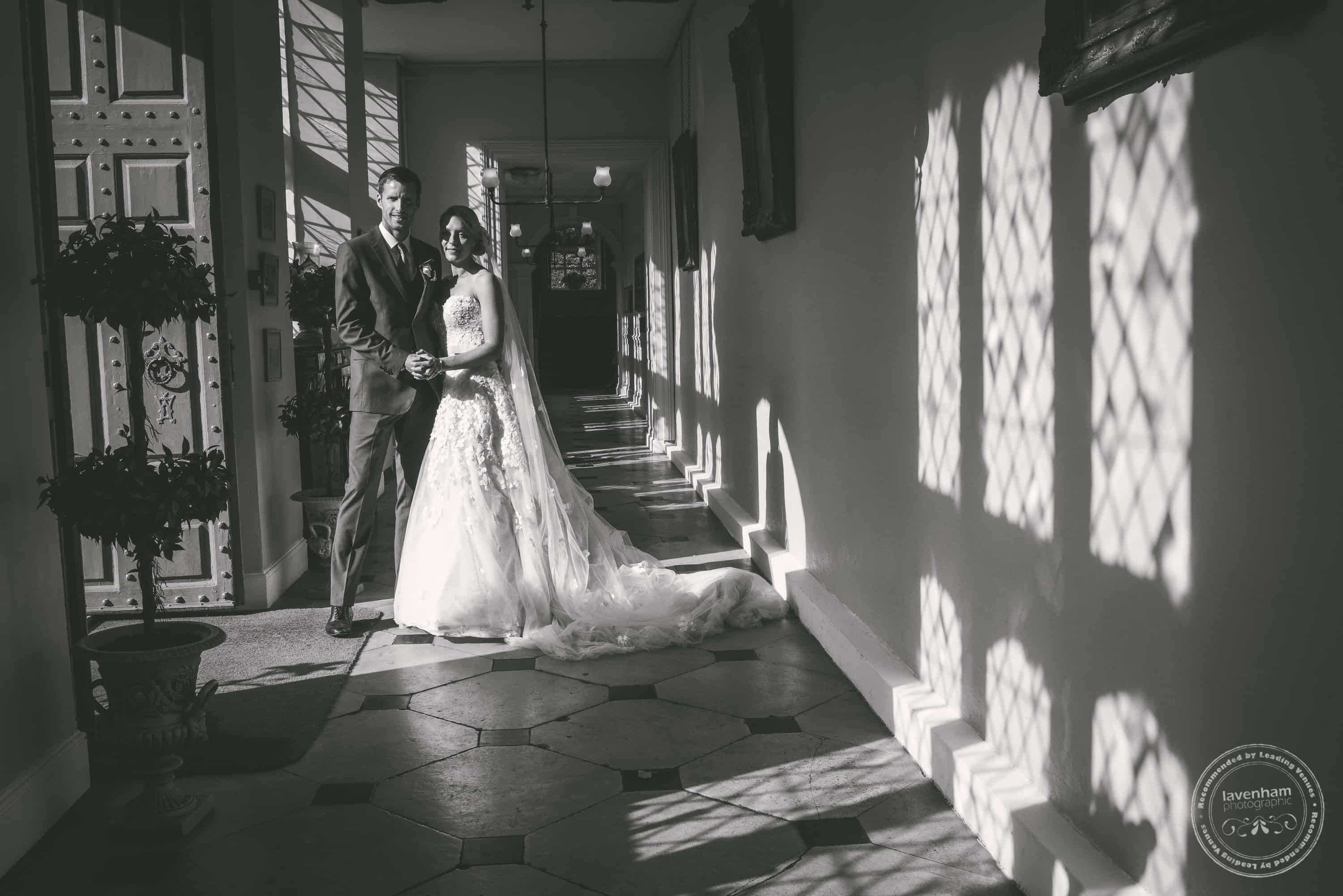 Black and white wedding photography. One of the long corridors at Gosfield Hall