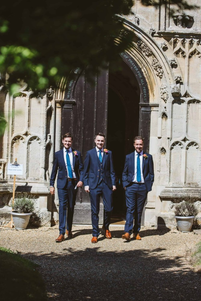 Groom and groomsmen before the wedding ceremony